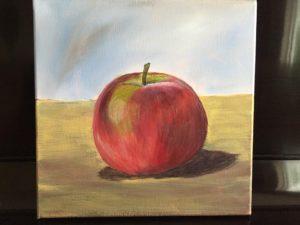 acrylic painting - apple by kathy kautz